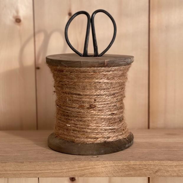 Porte ficelle bois et ciseaux anciens