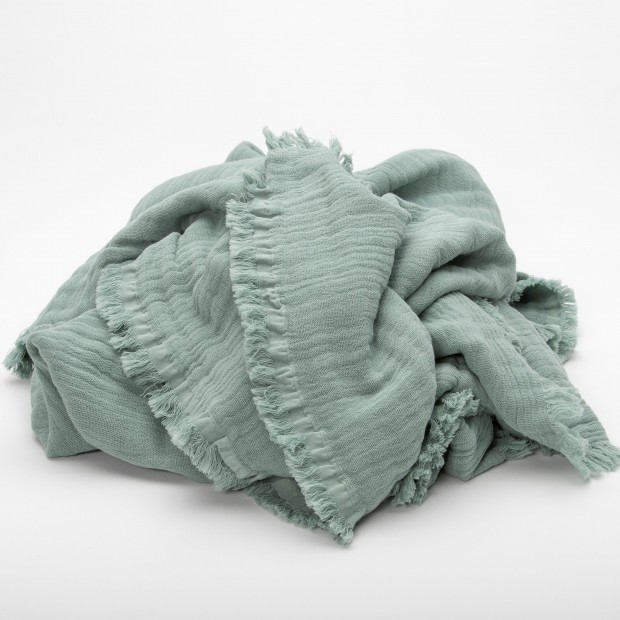 Plaid celadon coton oeko tex