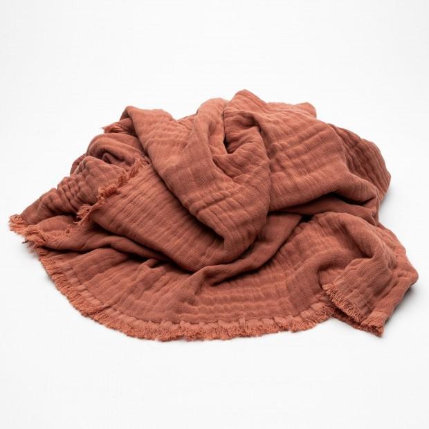 Plaid coton lavé certifié OEKO-TEX® Argile Vanly Harmony