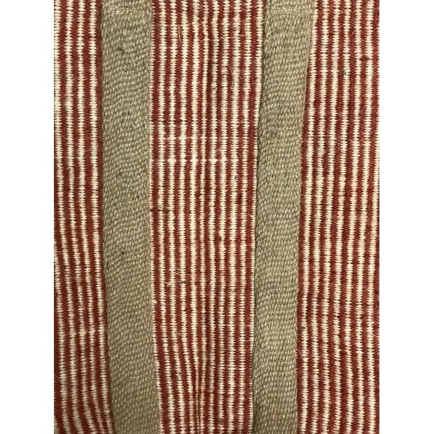 Panier à bûches renforcé en jute naturelle tressée couleur Rayé Rouge, 45cm de hauteur et 37cm de diamètre.